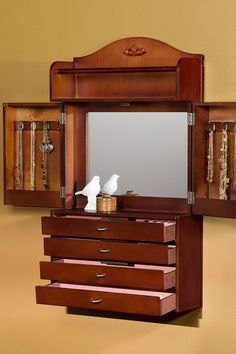 Wall Mount Jewelry Armoire For Her Wood Cabinet Vintage Mirror Box Holly  Martin