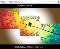"""36"""" Abstract  Painting Original Impasto landscape painting Tree Love Birds Acrylic Painting Canvas Painting """"Sunset in Forest"""""""