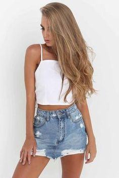 Sexy Backless Tie-Behind Crop Top, Summer Outfits, Sexy Backless Tie-Behind Crop Top - Tank Tops-momochoice. Crop Top Outfits, Edgy Outfits, Skirt Outfits, Summer Outfits, Cute Outfits, Fashion Outfits, Denim Dresses, Denim Outfits, Fashion Hacks