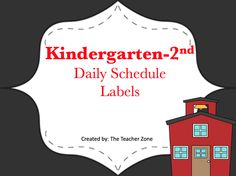 Free daily schedule labels. Great for Kindergarten to second grade.