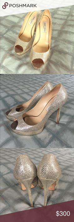 Jimmy Choo LUNA Champagne Glitter PeepToe Champagne Glitter Fabric Peep Toe Platform Pumps. A versatile and contemporary peep toe platform pump. Leather lined with a leather sole, and finished with a champagne glitter fabric upper. Glitter fabric, Leather lined, Leather sole. Jimmy Choo Shoes Platforms