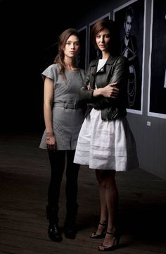 Portrait of French actresses Astrid Berges Survey and Anna Mouglalis at the Chanel Little Black Jacket exhibition.