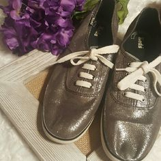 Silver keds Size 8 1/2.  Silver keds.  Only worn once or twice. keds Shoes Sneakers