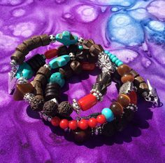 014...$30.00 quiltster@eoni.com. Wooden beads with turquoise and coral