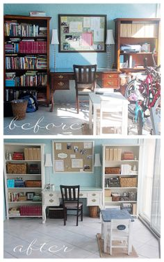 Office makeover. Love how the bookcases are arranged.