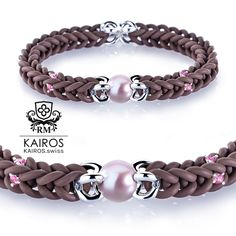 Chocolat Amber pearl bracelet with yellow Swarovski Zirconia and silver elements. Designer fashion bracelet by KAIROS. Swarovski Bracelet, Pearl Bracelet, Beaded Bracelets, Fashion Bracelets, Pearls, Amber, Silver, Pink, Fashion Design