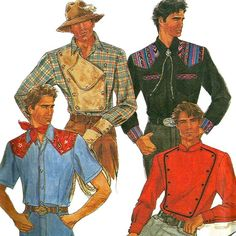1990s Simplicity 8441 Mens Western Shirt Pattern with Snap On Bib Mens Sewing Pattern Chest 38 40 42 44 UNCUT