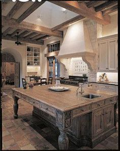 A Classical Journey: The Houses of Ken Tate - traditional - kitchen - sydney - The Images Publishing Group. Love the island! French Country Kitchens, Farmhouse Style Kitchen, Modern Farmhouse Kitchens, Rustic Kitchen, New Kitchen, Kitchen Decor, Tuscan Kitchens, Kitchen White, Old World Kitchens