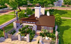 The green front yard nestled behind a wrapping fence takes center stage in this contemporary vacation house created in The Sims It includes a pool and a patio. Sims 4 Modern House, Sims 4 House Design, Sims 4 House Plans, Sims 4 House Building, Lotes The Sims 4, Sims Cc, Casas The Sims 4, Sims 4 Build, Sims 4 Update