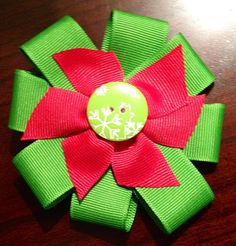 Green and Red Snowflake Bow with button by CakeBatterandBows, $6.00