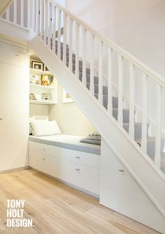 Home Stairs Design, House Design, Home Renovation, Under Stairs Nook, Under Staircase Ideas, Staircase Storage, Under Stair Storage, Hallway Designs, Modern Staircase