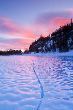 bluepueblo:  Sunrise, Frozen Loch Lake, Colorado photo via eyes