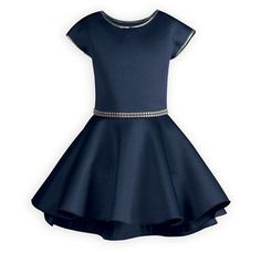 Trendy Hi-Lo Navy Tween Dress Up to date styling in trendy, comfortable poly scuba fabric. Waisted dress has a full swing style skirt that dips slightly lower in back. Double row o Tween Party Dresses, Childrens Party Dresses, Girls Dresses Tween, Girls Special Occasion Dresses, Party Dress Outfits, Dresses For Tweens, Holiday Party Dresses, Girl Outfits, Teenage Outfits