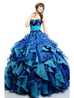 Luxurious Ball gown blue strapless sweetheart Quinceanera Dresses
