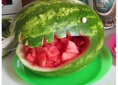 Dinosaur watermelon! Kids will love to grab watermelon chunks from the dinosaurs mouth!