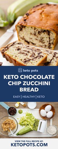Searching for keto recipes? Search no longer! The BEST keto recipes that may be made in five minutes or less. You don't want to skip these. Chocolate Chip Zucchini Bread, Zucchini Bread Recipes, Keto Chocolate Chips, Chocolate Chip Recipes, Low Carb Zuchinni Bread, Banana Bread, Recipe Zucchini, Paleo Bread, Healthy Zucchini