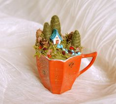 Cottage in a Cup Fairy House Orange Antique Cup von gingerlittle, $132.00