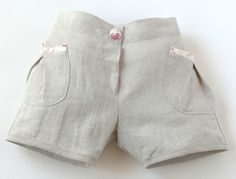 Natural Shorts/Pink Trim by Little Chillies
