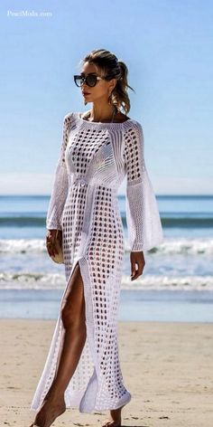 Imported From Abroad Summer Women Bikini Cover Up Sarong Cardigan Dress Kaftan Lace Crochet Sheer Beach Wear Long Blouse Casual Loose Long Sleeve Women's Clothing