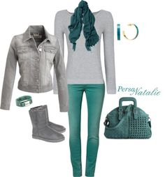 """""""Grey/Teal"""" by natalie-buscemi-hindman on Polyvore"""