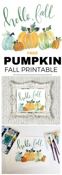 Free Hello Fall Pumpkin Printable in pretty watercolor. Fall Crafts, Holiday Crafts, Fall Inspiration, Pumpkin Printable, Fall Wallpaper, Diy Décoration, Happy Fall Y'all, Autumn Activities, Hello Autumn