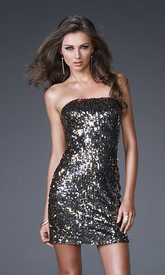 Short Strapless Gold & Silver Sequin Dress
