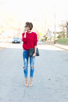 Distressed denim, holiday red, red suede choker, short hair, heels, leather clutch