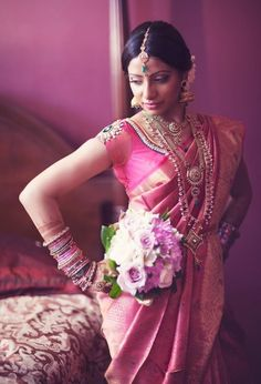 south indian bride in pink silk [pattu]saree