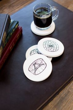 """""""Scaffold"""" coasters by David Bellona // 3D patterns that jump off the table // perfect for your mathy, engineering, design side"""