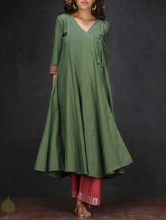 Swirly green cotton angrakha with pink detail