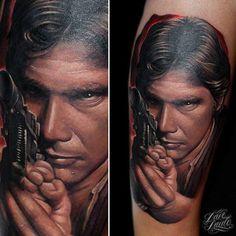 Han Solo Tattoo by Dave Paulo. #Ink #Inked #inkedmag #tattoo #han #solo #star #wars #theme #idea #hero