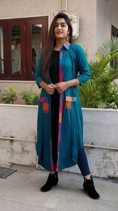 Beautiful Silk shirt collar jacket with multicolor patti and pocket detailing. This is easily wearable with kurti/Dress and top-pant. Ladies Wear, Women Wear, Collar Kurti, Denim Ootd, Plazzo Suits, Tunics, Blouses, Fashion Ideas, Women's Fashion