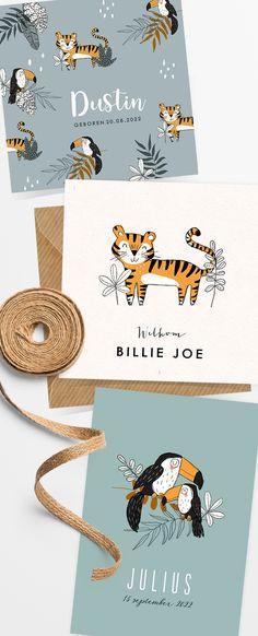 Stoere geboortekaartjes voor een jongetje in jungle thema. Helemaal on trend!