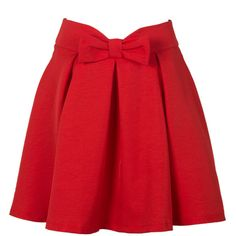 Choies Red Bowknot Waist Pleat Detail Skater Skirt ($15) ❤ liked on Polyvore featuring skirts, red, pleated skirt, circle skirt, red skirt, red flared skirt and red circle skirt
