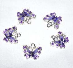 Light Purple  Lavender  Enamel Butterfly Charms with by marykerran, $6.50