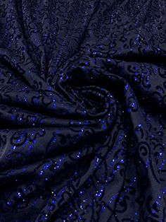 fed6a83f50b Polyester Mesh Floral Design with Navy Lurex #fabric #textile #lurex # glitter #