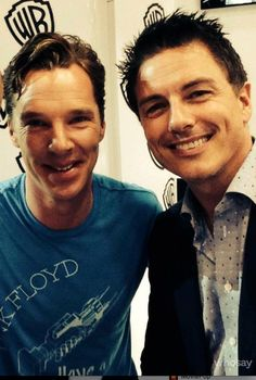 Sherlock meets Captain Jack :P John Barrowman and Benedict Cumberbatch at San Diego Comic Con 2014! Click through to see John fanboy on video.