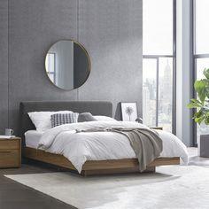 Bedroom Layouts, Bedroom Styles, Bedroom Bed, Bedroom Decor, Bed Wrap, Grey Bed Frame, Floating Bed, Bed Slats, Minimalist House Design