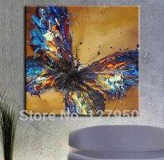 modern abstract, mixed colored, blue butterfly on canvas