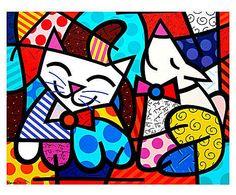 Gravura happy cat & snob dog