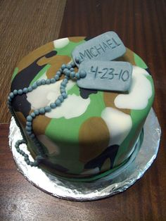 Army graduation cake by see-through-silence on DeviantArt Army Birthday Cakes, Army Birthday Parties, Army's Birthday, Army Cake, Military Cake, Fondant Cakes, Cupcake Cakes, Camouflage Cake, Marine Cake