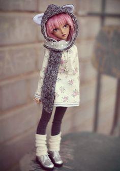 Grey wolf-hat for doll msd 1/4 bjd