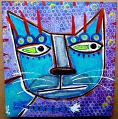 """Portrait Of A Street Cat #7"" an original acrylic painting by Tracey Ann Finley"