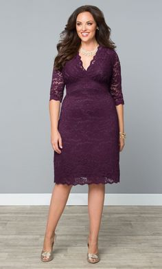 Scalloped Boudoir Lace Dress | Plus Size Special Occasion Dresses | fullbeauty