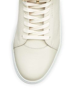Leather High-Top Sneaker w/ 18k Gold-Plated Hardware, Off White