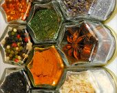 EVERYTHING but the...HEX RUSTIC.  24 Organic Herbs and Spices.  Includes Rusted Plate for Wall Installation of Magnetic Spice Rack.. $155.00, via Etsy.