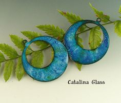 Enameled Copper  Earring Pair by Catalina Glass  by catalinaglass
