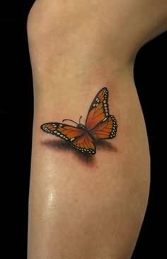3D Butterfly Tattoo On Leg