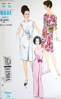 1960s Stunning Slim Evening Dress Pattern Vogue Special Design 6806 Two Length 3 Versions Day or Evening Cocktail Bust 36 Easy To Make Vintage Sewing Pattern FACTORY FOLDED