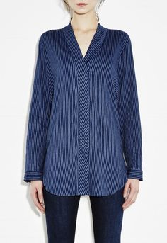 Shawl Neck Shirt - Women's shirt - Kimono meets shirt - Port Stripe - MiH
